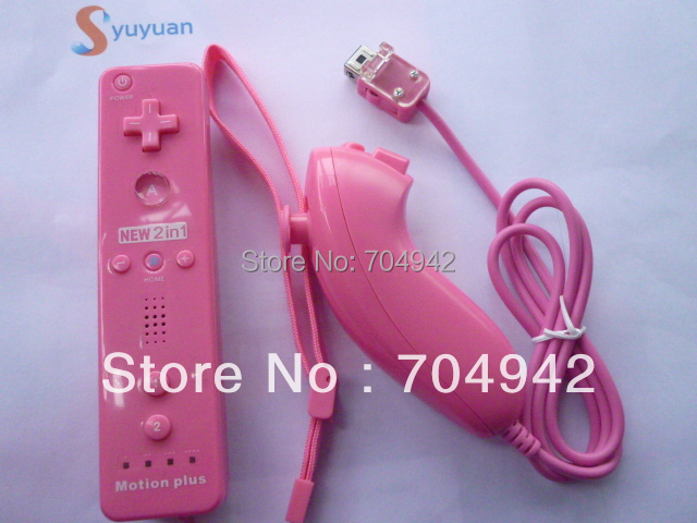 Free shipping pink Color Remote built in Motion Plus  +  Nunchuck  +  Silicon Case + Strip for Wii+5PCS/lot