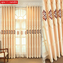 Yellow pink blue European Luxury Embroidery Blackout Curtain Tulle Curtains Bedroom Living Room Bay Window Home Decor