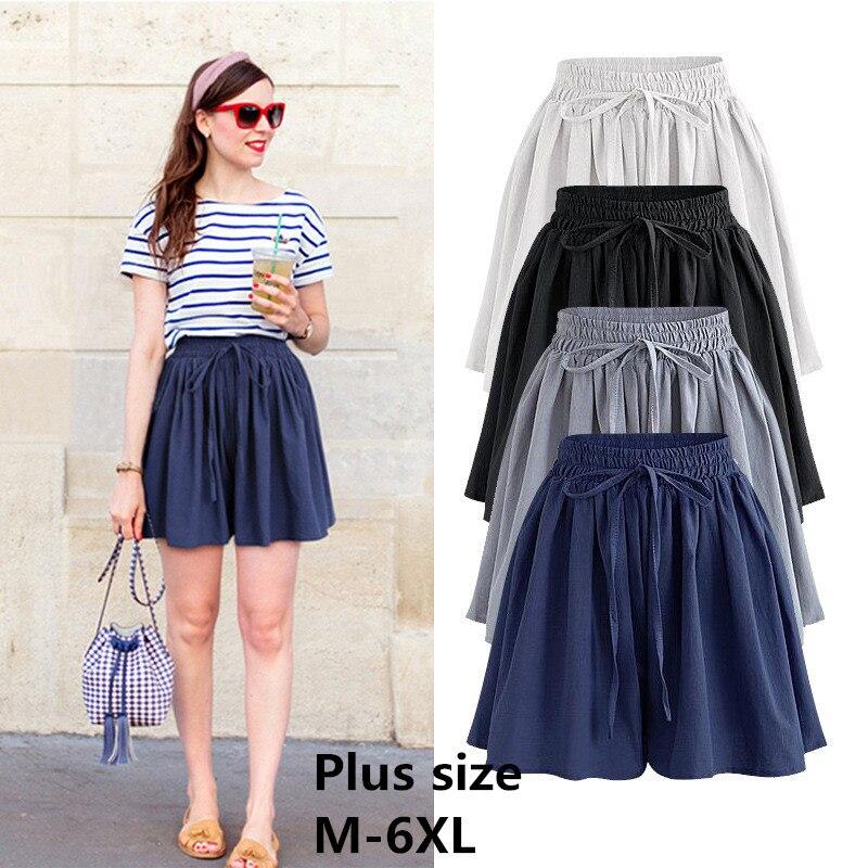 2019 Summer Wide Leg Shorts Women Large Size Casual Loose High waist Female Short pants Plus size M-6XL