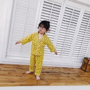 Image 4 - Mùa thu Đông bé trai bé gái hoạt hình thời trang Đồ Ngủ Bộ Nguyên Chất Áo sơ mi tay dài in + tay và quần áo trẻ em quần áo bộ