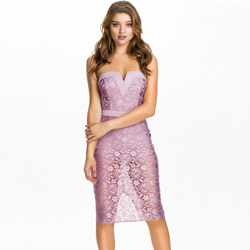 Été nouveau modèle V plomb sans manches Roses réel violet dentelle sans bretelles pleine robe à Longuette