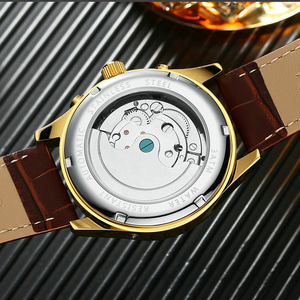 Image 4 - KINYUED Business Mechanical Watches Mens Skeleton Tourbillon Automatic Watch Men Gold Steel Calendar Waterproof Relojes Hombre
