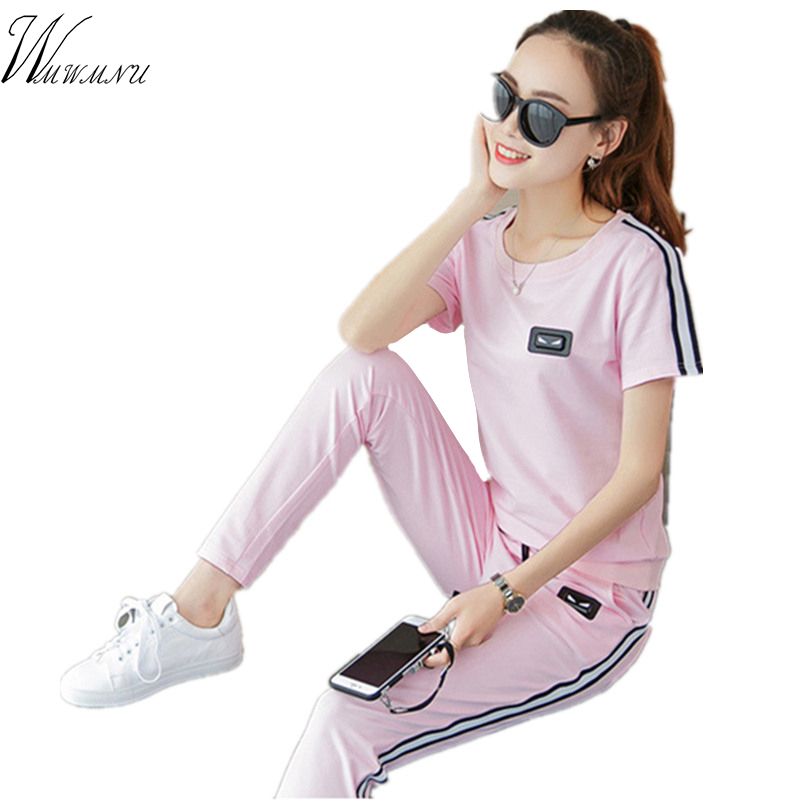 runway 2017 Women's sportswear Summer tracksuit girls Pure cotton leisure loose 2 piece set women Highlights of youth ss002