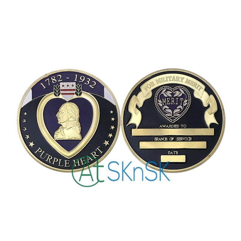 1-10pcs beautiful custom coins 1782-1932 Purple Heart gold coins badge Merit award medal Military Merit Challenge coins gift