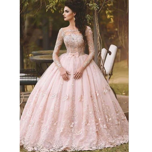 2016 Fashion Pink Bateau Appliqued Beaded Long Sleeve Puffy Princess Prom  Dresses 8871b4aedb0e