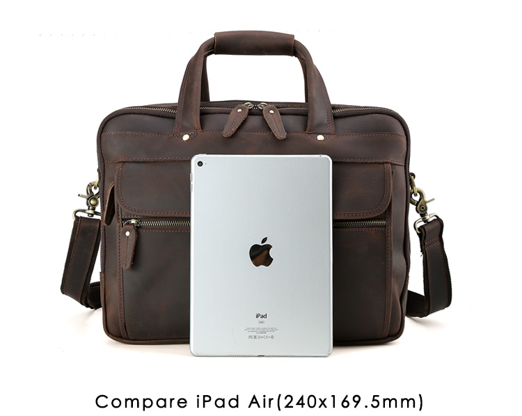 Men Leather Travel Briefcases 15.6