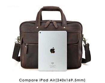 Men Leather Travel Briefcases 15.6″ Laptop On Trolley Case Messenger Bag Tote Handbag Briefcases