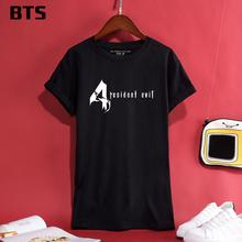 BTS Resident Evil t-shirt mujeres corto más tamaño casual camiseta mujeres  Funny Cool Hipster 0e8b281177d
