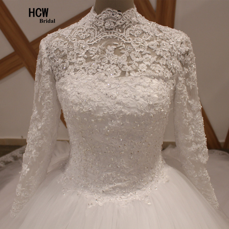 436a39cc9b72 2 Meters Long Train Muslim Wedding Dress High Neck Long Sleeve Royal Train  Pearls Lace Princess Wedding Dresses Vestido De Noiva-in Wedding Dresses  from ...