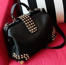 X-Online hot sale women bag female fashion doctor bag lady rivet tote