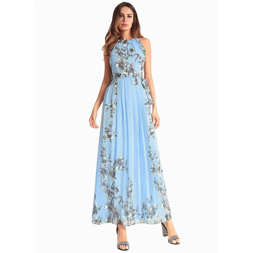 2018 New Summer Beach Dress Floral Print Chiffon Long Sress for Women Sleeveless maxi dr ...