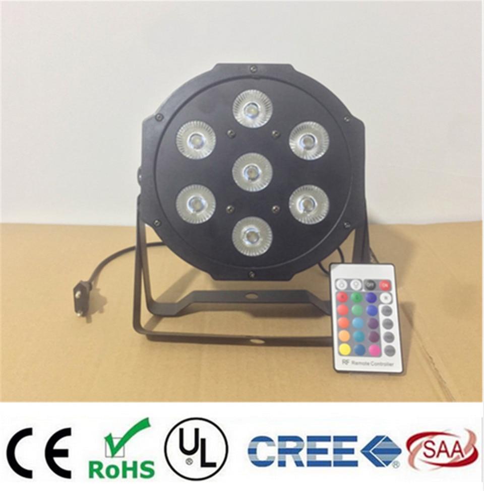 2 unids/lote Control remoto led par 7x12 w rgbw 4in1 led de lujo luces dmx 4/8 canales led par plana цена