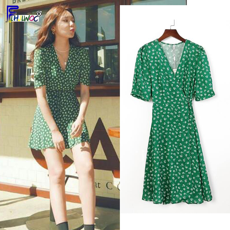 Summer Chiffon Dresses Woman Fashion Floral Printed Holiday Date Cute Sweet Korean Japan Style Clothes A Line Little Dress Green