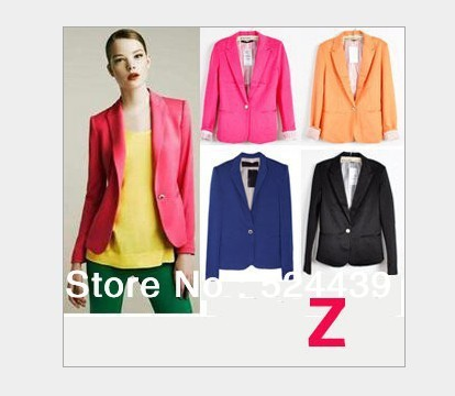 drop shipping 2013 ZA new hot stylish and comfortable women's cotton Blazers Candy color lined with striped Z suit OL style
