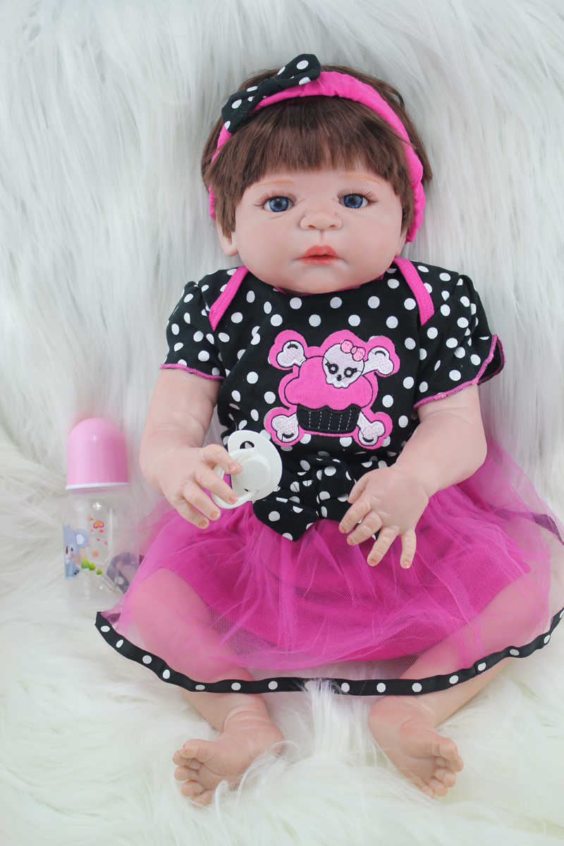 55cm Full silicone body reborn girl baby doll toys newborn babies doll fashion birthday gift present girls brinquedos bathe toy 50cm full silicone body reborn princess babies doll toys newborn baby doll lovely kids birthday gift bathe toy girls brinquedos