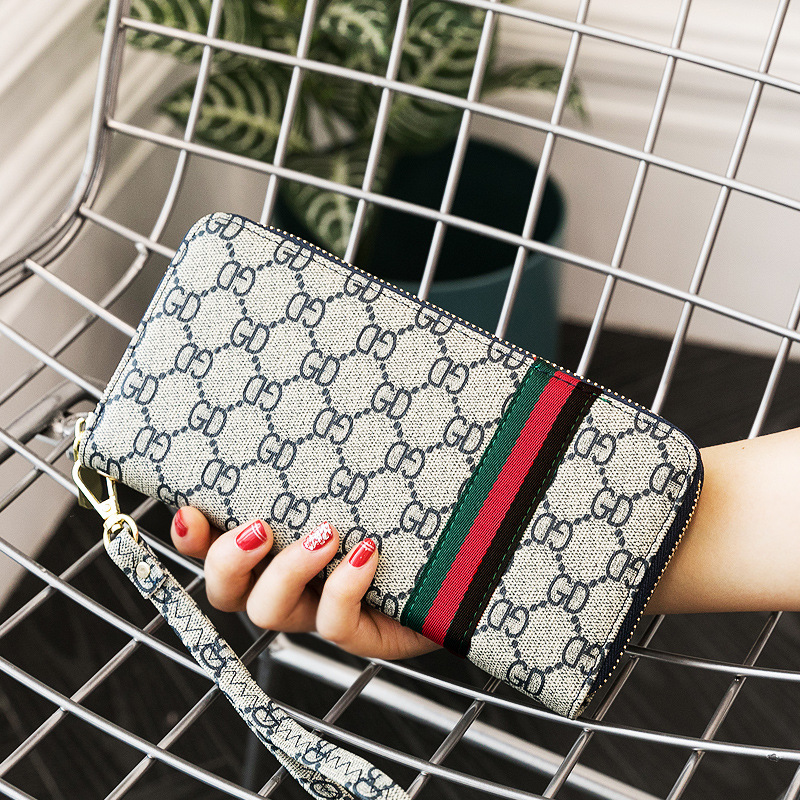 Credit Card Wallet PU Leather Zipper Women's Wallet Wristband Retro Print Long Wallet 5