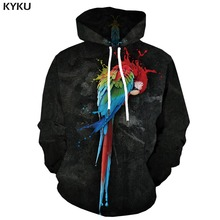 KYKU Brand Parrot Sweatshirts men Animal Hoodie Print Graffiti Hoody Anime Black Hoodes 3d Art Hooded Casual Long Sleeve Graphic