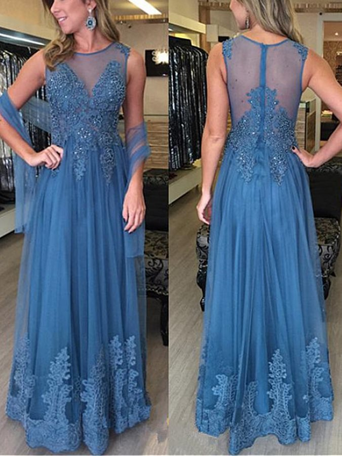 New Elegant Appliques Beading Mother of the Bride Dresses with Shawl 2020 Wedding Guest Gowns Mother Dress