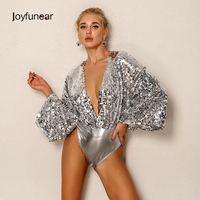 Joyfunear 2018 New Women Bodysuit Sexy Backless Bodycon V Neck Elegant Jumpsit Beachwear Comfortable Solid Woman Summer Romper