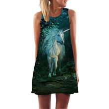 2019 New 3D Print Women Dress Sleeveless Summer Dress fashion O neck Casual Loose Mini Chiffon Dresses Women's clothing Vestidos цена и фото
