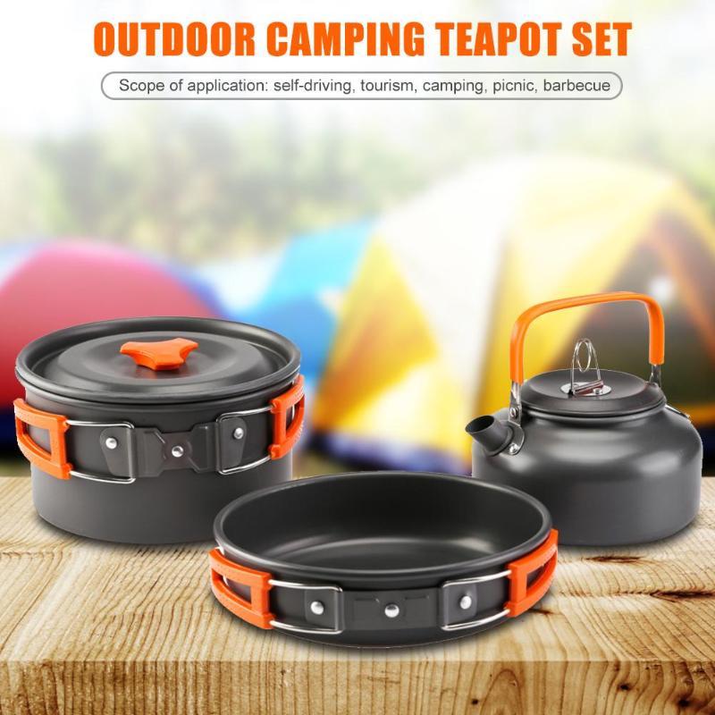 3pcs Cooking Set Cookware Water Kettle Aluminum Portable Coffee Pot Teapot Outdoor Camping Cookware Water Kettle Pan Sets