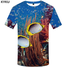 KYKU Fish 3d T Shirt Men Carp Tshirt Tropical Coral Print T-shirt Animal Funny Shirts Casual Mens Clothing Short Sleeve Summer