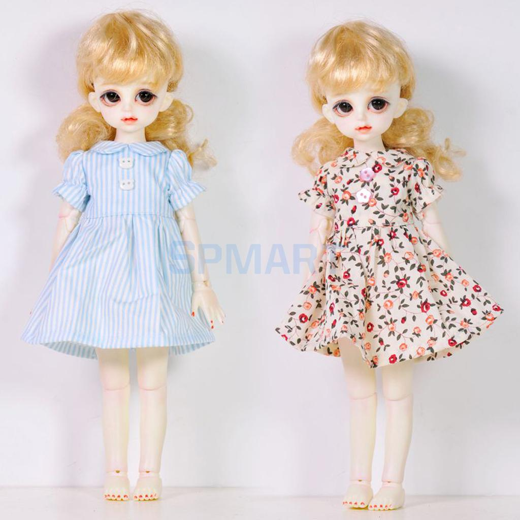 2 pieces Striped Floral Dress Skirt Clothes for 1/6 BJD SD DOD LUTS Dollfie YOSD Dolls Clothing Costum Accs bjd bb black high leather boots for 1 6 yosd super dollfie luts dod as dz doll shoes sb16