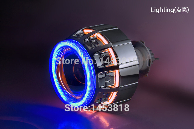 35w H1 H7 H11 9004 9007 H4 3'' inch hid Bixenon Projector Headlight warm white 4300K - 8000K Double Angel Eye 3 0hqt 3 0 inch double angel eye hid bixenon xenon projector lens lhd rhd h1 h7 h4 hb3 hb4 9004 9007 headlight 2pcs ac ballast