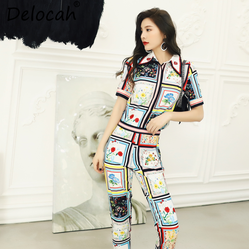 Delocah New 2019 Women Spring Summer Suits Runway Fashion Designer Elegant Beading Printed Two Pieces Set
