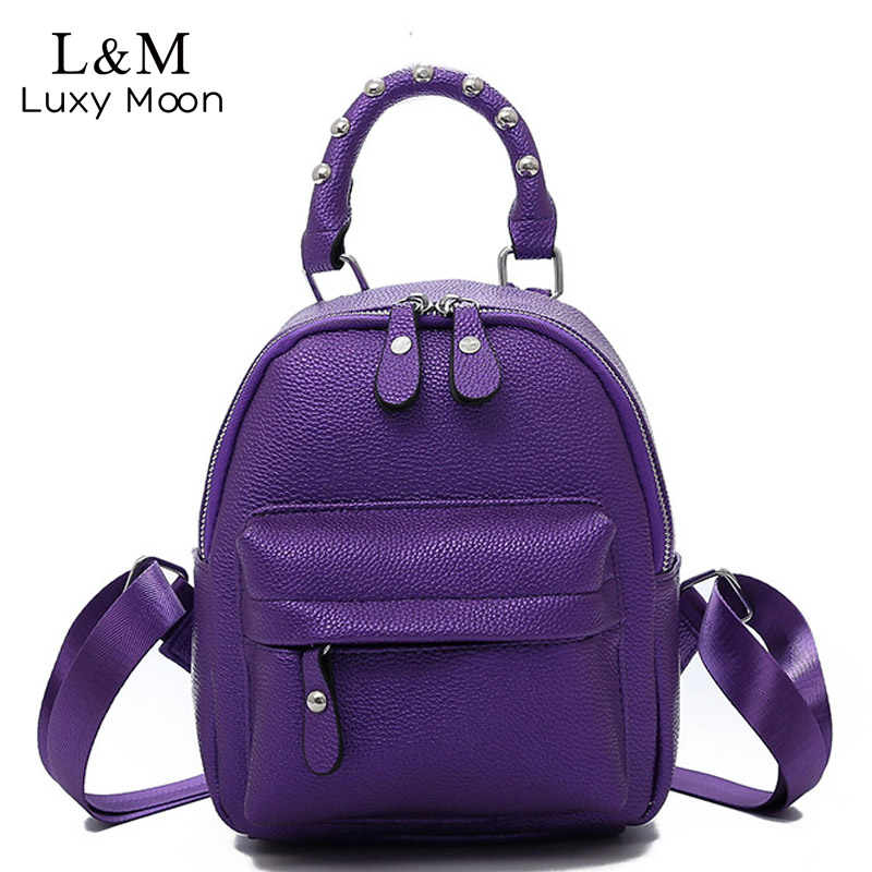 890bec92cf School Backpacks 2018 Fashion New Women Mini Backpack Leather Women  Shoulder Bags Simple Casual Small Backpack Purple XA480H-in Backpacks from  Luggage ...