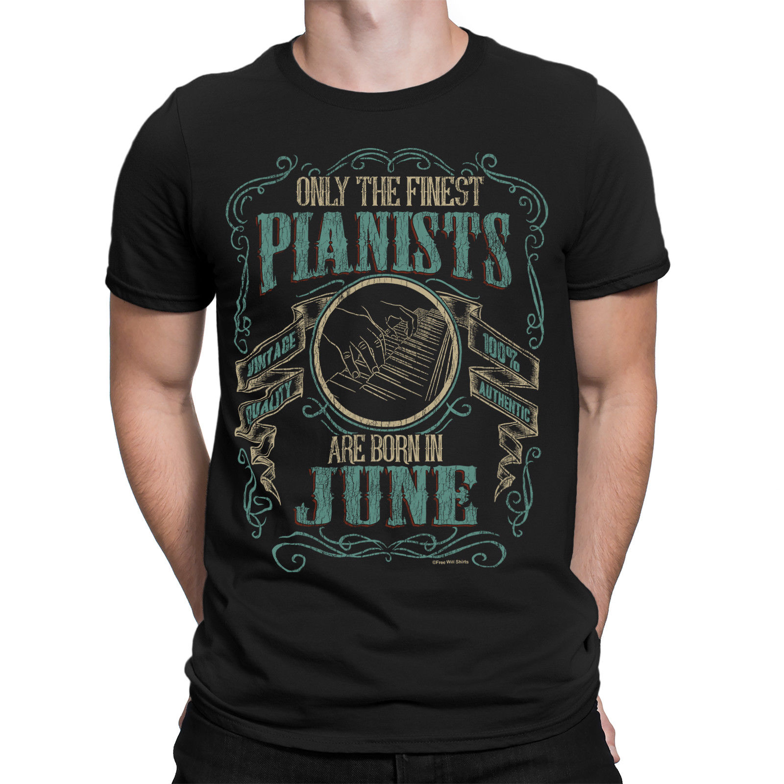 2019 Cool Tee Shirt Mens PIANO T-Shirt Finest PIANISTS Born in JUNE Music Birthday Fathers Day Summer T-shirt image