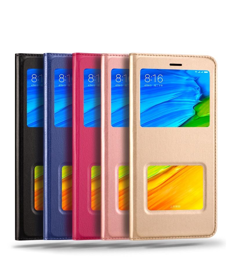 Voir Windows Flip Cas Pour Xiaomi Redmi 5 Plus 5 Plus Couverture En Cuir Cas Funda Hoesje Protecteur Capa Coque Etui pour Redmi Note 5
