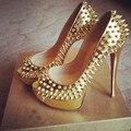 SHOFOO sapatos, Moda frete grátis, couro de ouro, 12.5 cm alto-sapatos de salto alto, rebites sapatos, peep toe pumps. TAMANHO: 34-45