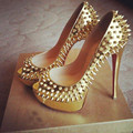 SHOFOO shoes,Fad free shipping, gold leather, 12.5 cm high-heeled shoes, rivets shoes, peep toe pumps.SIZE:34-45