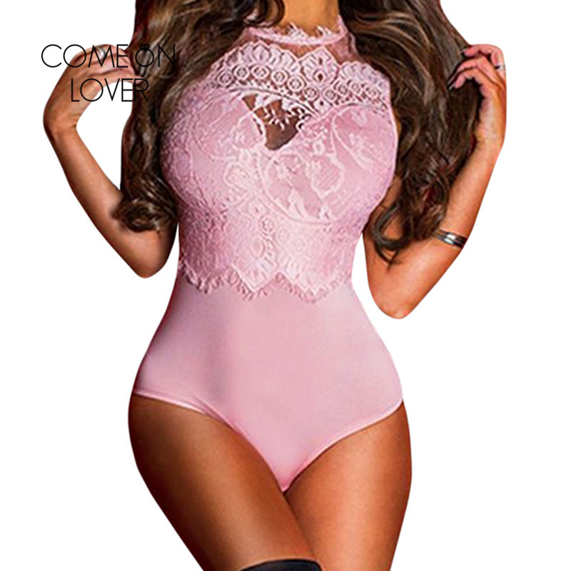 Comeonlover Lace Up Bodysuit Plus Size Lace High Neck Cut Out Back Fitness Bodycon Jumpsuit Body Manche Longue Femme RI80472