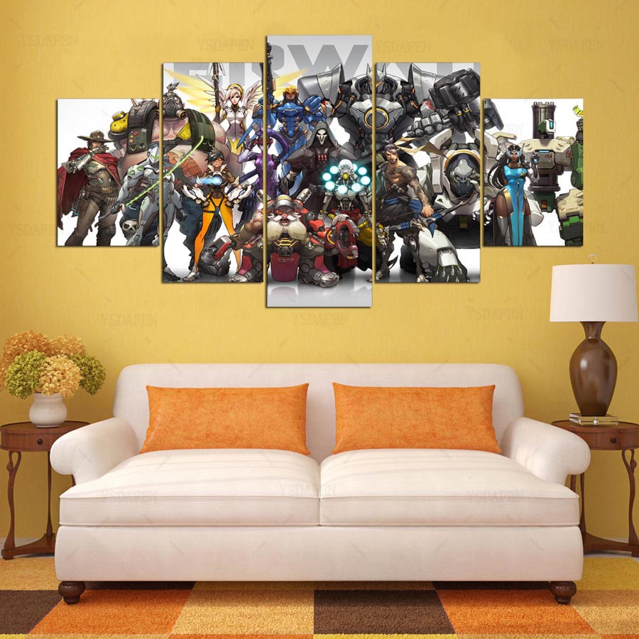 YSDAFEN 5 Panel Overwatch Hero Game Canvas Printed Painting For ...