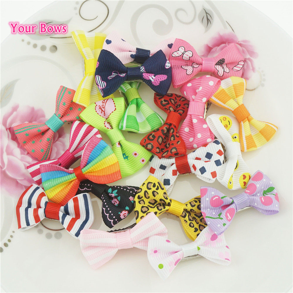 Your Bows 20 Pcs/lot 4cm Mini Candy Ribbon Hair Bows Small Bowknot Hairgrips Safety Hair Clips Girls Hairpins Hair Accessories 1 set new girls colorful carton hair clips small crabs hair claw clips mini hairpin kids hair ornaments claw clip