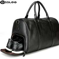 Men's Travel Bag Casual Genuine Leather Luggage Carry On Leather Duffel Shoulder Bags Weekend Bag Big Tote Handbag bolsa