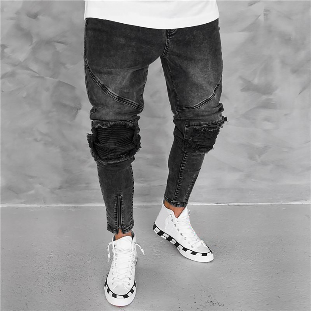 Men Jeans Mid Waist Casual Ripped Hole Zipper Black Skinny Jeans Men Streetwear Hip Pop Fashion Denim Jean Calça Masculina H40