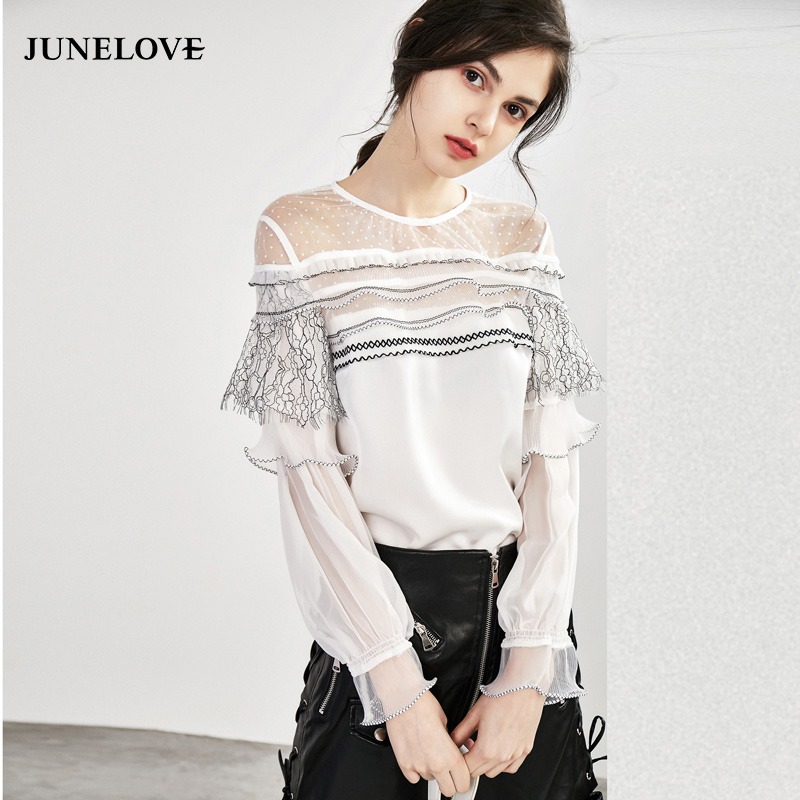 JuneLove 2018 Blouses Shirt Tops Office sutumn Ladies Streetwear Girls Vintage Elegant Sweet Crop Casual lace women Top