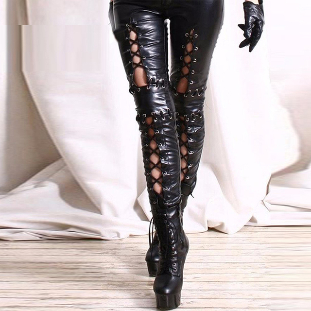 aeadc708a275 Plus Size Black Sexy Wetlook Leather Leggings Bandage Exotic Women Faux Leather  Legging Skinny Lace Up