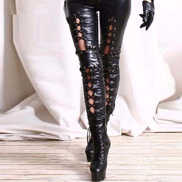 d22b934af01 Plus Size Black Sexy Wetlook Leather Leggings Bandage Exotic Women Faux  Leather Legging Skinny Lace Up