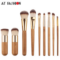 9 Pcs Bamboo Makeup Brushes Set High Quality Soft Nylon Hair Professional Foundation Makeup Brush Tool