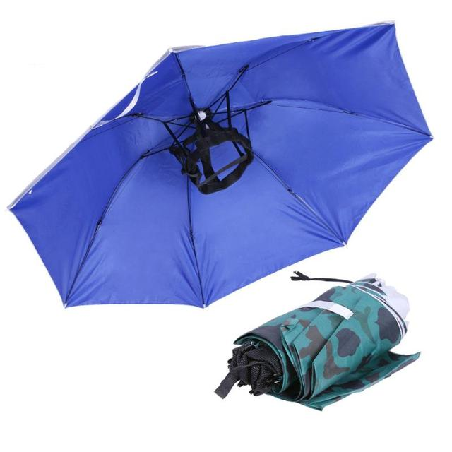 2093da1dfb700 Foldable Head Umbrella Hat Fishing Caps Anti-UV Anti-Rain Portable Outdoor  Travel Hiking Beach Fishing Umbrellas Hat Rain Gear