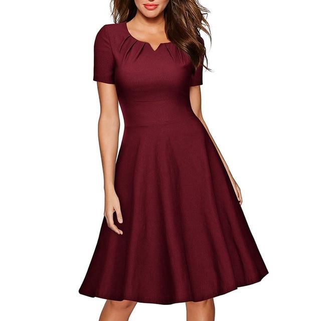 776891d62d Formal Women Dress V Neck Burgundy Vestido Knee Length Party Dresses Women  Clothing Plus Size Short Sleeve OL Work Dress Elegant