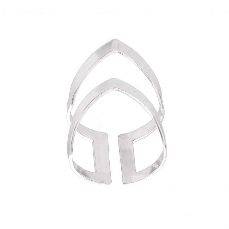 ¡Novedad de 2019! anillos de cheurón en V de doble línea modernos de Jisensp, anillos Punk geométricos simples, joyería para mujer, regalo de fiesta de cumpleaños