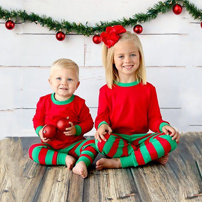 NEW cartoon kids   pajama     sets   children sleepwear boys girls family Christmas Santa Claus Striped suit toddler baby pyjamas   Set