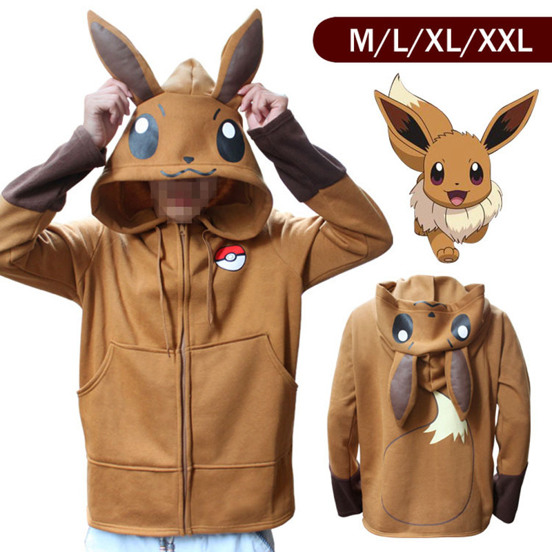 Halloween Costume Anime Pokemon Eevee Hoodies Sweatshirts Cosplay Jackets Spring/Autumn/Winter Coat for Men & Women Outdoor Wear