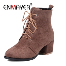 ENMAYER Women Ankle Boots Big Size34-45 Causal High Heels Thick Fashion Pointed Toe Lace up Flock Shoes woman CR1254