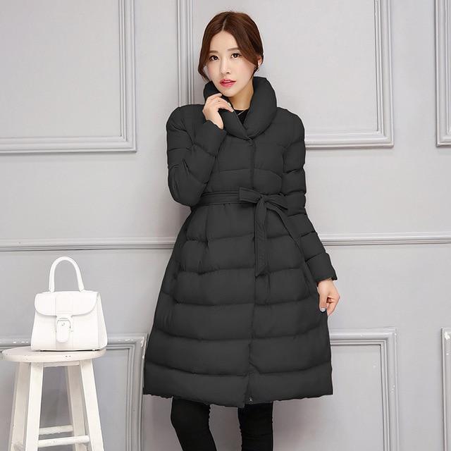2016 bowknot belt fluffy dowm cotton skirt women warm winter jackets  Coat Long Style Parka outerwear female
